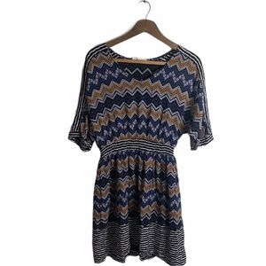 Altar'd State boho dress blue tan Medium